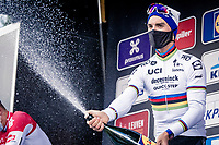 World Champion Julian Alaphilippe (FRA/Deceuninck-QuickStep) celebrating his first win in the rainbow jersey<br /> <br /> 60th De Brabantse Pijl 2020 - La Flèche Brabançonne (1.Pro)<br /> 1 day race from Leuven to Overijse (BEL/197km)<br /> <br /> ©kramon