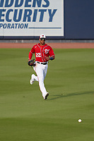 Washington Nationals outfielder Juan Soto (22) fields a ground ball during a Major League Spring Training game against the Miami Marlins on March 20, 2021 at FITTEAM Ballpark of the Palm Beaches in Palm Beach, Florida.  (Mike Janes/Four Seam Images)