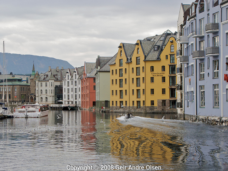 View of the narrow Brosundet canal in Aalesund, Norway