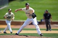 Wake Forest Demon Deacons relief pitcher Chris Farish (32) in action against the Pitt Panthers at David F. Couch Ballpark on May 20, 2017 in Winston-Salem, North Carolina. The Demon Deacons defeated the Panthers 14-4.  (Brian Westerholt/Four Seam Images)