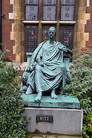 UK, England, Cambridge.  Pembroke College.  Statue of William Pitt the Younger.