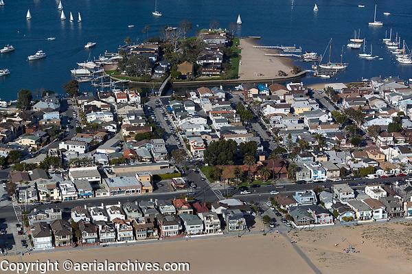 aerial photograph of Newport Beach, Bay Island in the background, Orange County, California