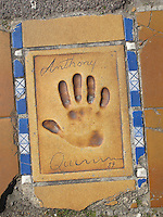 Hand print of the film star, Anthony Quinn, outside the Palais des Festivals et des Congres, Cannes, France.