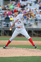 Luke Lanphere (25) of the Spokane Indians pitches during a game against the Everett AquaSox at Everett Memorial Stadium on July 25, 2015 in Everett, Washington. Spokane defeated Everett, 10-1. (Larry Goren/Four Seam Images)