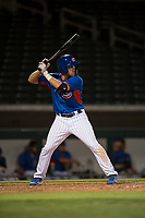 AZL Cubs 2 third baseman Grant Fennell (19) at bat during an Arizona League game against the AZL Rangers at Sloan Park on July 7, 2018 in Mesa, Arizona. AZL Rangers defeated AZL Cubs 2 11-2. (Zachary Lucy/Four Seam Images)