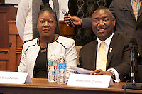 """Benjamin Crump and Daryl Parks, attorneys for the families of Trayvon Martin and Mike Brown speaking at """"Checking Under the Hood: Defining Trayvon Martin's Legacy, From Conversation to Legislation"""" at Harvard Law School Cambridge MA with Sybrina Fulton Trayvon Martin's mother hosted by Professor Charles Ogletree of the Charles Hamilton Houston Institute at Austin Hall Ames Courtroom November 18, 2013"""