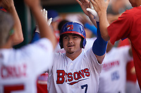 Buffalo Bisons Reese McGuire (7) high fives teammates after hitting a home run during an International League game against the Syracuse Mets on June 29, 2019 at Sahlen Field in Buffalo, New York.  Buffalo defeated Syracuse 9-3.  (Mike Janes/Four Seam Images)