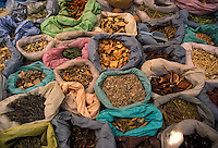 AJ1870, market, spices, Mexico, Jocotepec, Grains, spices, and roots are displayed at an open air market in Jocotepec in the state of Jalisco.