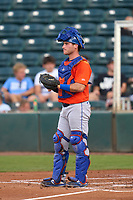 St. Lucie Mets catcher Matt O'Neill (5) during a game against the Fort Myers Mighty Mussels on June 3, 2021 at Hammond Stadium in Fort Myers, Florida.  (Mike Janes/Four Seam Images)