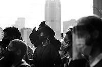 Danielle Brown, mother of Marquis Jaylen Brown, a Duquesne University student and football player who supposedly jumped from his 16th floor dorm room in October of 2018, held a living eulogy on day thirty four of her hunger strike at Freedom Corner before marching to the campus of Duquesne University on Thursday August 6, 2020 in Pittsburgh, Pennsylvania. (Photo by Jared Wickerham/Pittsburgh City Paper)