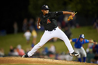 Kane County Cougars relief pitcher Erbert Gonzalez (7) delivers a pitch during a game against the South Bend Cubs on July 21, 2018 at Northwestern Medicine Field in Geneva, Illinois.  South Bend defeated Kane County 4-2.  (Mike Janes/Four Seam Images)
