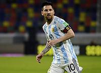3rd June 2021; Estadio Único de Santiago del Estero, Santiago del Estero, Argentina; World Cup football qualification, Argentina versus Chile; Lionel Messi of Argentina breaks forward