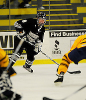 29 December 2007: Western Michigan University Broncos' center Max Campbell, a Freshman from Strathroy, Ontario, in action against the Quinnipiac University Bobcats at Gutterson Fieldhouse in Burlington, Vermont. The Bobcats defeated the Broncos 2-1 in the first game of the Sheraton/TD Banknorth Catamount Cup Tournament...Mandatory Photo Credit: Ed Wolfstein Photo