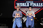 Jackson Roberts, Garrett Hershberger, during the Team Roping Back Number Presentation at the Junior World Finals. Photo by Andy Watson. Written permission must be obtained to use this photo in any manner.