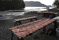 Fish line racks for drying at John and Roby Littlefield 160 acre fish camp on private land that has been in John's family since Alaska was given to Tlingit and other native people.  They invite children and elders for a weekend outing who arrive by boat and carry belongings to Dog Point Fish Camp.