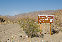 Death Valley National Park entrance sign, Trona-Wildrose Road, Panamint Valley, California
