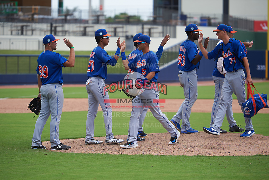 GCL Mets, including Kyle Wilson (89), Mark Vientos (20), Kenny Hernandez (5), Kenneth Bautista (93), and Liam McCall (71), celebrate after closing out the second game of a doubleheader against the GCL Nationals on July 22, 2017 at The Ballpark of the Palm Beaches in Palm Beach, Florida.  GCL Mets defeated the GCL Nationals 4-1.  (Mike Janes/Four Seam Images)