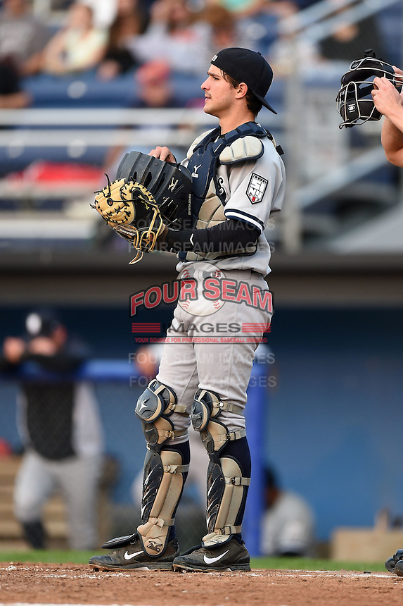 Staten Island Yankees catcher Luis Torrens (57) during a game against the Batavia Muckdogs on August 7, 2014 at Dwyer Stadium in Batavia, New York.  Staten Island defeated Batavia 2-1.  (Mike Janes/Four Seam Images)