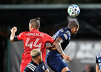 LAKE BUENA VISTA, FL - JULY 26: Alexander Callens of New York City FC wins a header during a game between New York City FC and Toronto FC at ESPN Wide World of Sports on July 26, 2020 in Lake Buena Vista, Florida.