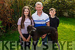Brendan Maunsell with his son Brendan Jnr and daughter Sarah with their greyhound Redzer Ardfert at their home in Abbeydorney on Saturday
