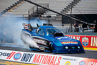 Aug 8, 2020; Clermont, Indiana, USA; NHRA funny car driver Terry Haddock during qualifying for the Indy Nationals at Lucas Oil Raceway. Mandatory Credit: Mark J. Rebilas-USA TODAY Sports
