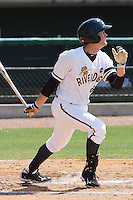 Garrison Lassiter #6 of the Charleston RiverDogs hitting in a game against the West Virginia Power on April 14, 2010  in Charleston, SC.