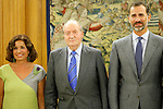 King Juan Carlos of Spain and Prince Felipe of Spain recive in audience to COI representation for candidature of Madrid 2020 Olympic Games in a Zarzuela Place in Madrid. In the pic: King Juan Carlos of Spain, Prince Felipe of Spain and Ana Botella.  September 10, 2013. (ALTERPHOTOS/Caro Marin)