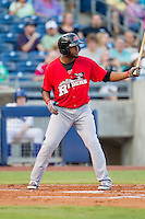 Frisco RoughRiders shortstop Hanser Alberto at bat during the Texas League game against the Tulsa Drillers at ONEOK field on August 15, 2014 in Tulsa, Oklahoma  The RoughRiders defeated the Drillers 8-2.  (William Purnell/Four Seam Images)