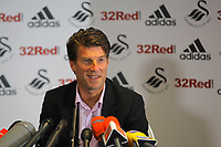 Pictured: Manager Michael Laudrup. Thursday 23 August 2012<br /> Re: Barclay's Premier League side Swansea City FC press conference at the Liberty Stadium, south Wales, UK.