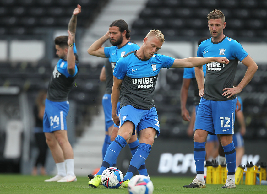 Preston North End's Jayden Stockley<br /> <br /> Photographer Mick Walker/CameraSport<br /> <br /> Carabao Cup Second Round Northern Section - Derby County v Preston North End - Tuesday 15th September 2020 - Pride Park Stadium - Derby<br />  <br /> World Copyright © 2020 CameraSport. All rights reserved. 43 Linden Ave. Countesthorpe. Leicester. England. LE8 5PG - Tel: +44 (0) 116 277 4147 - admin@camerasport.com - www.camerasport.com