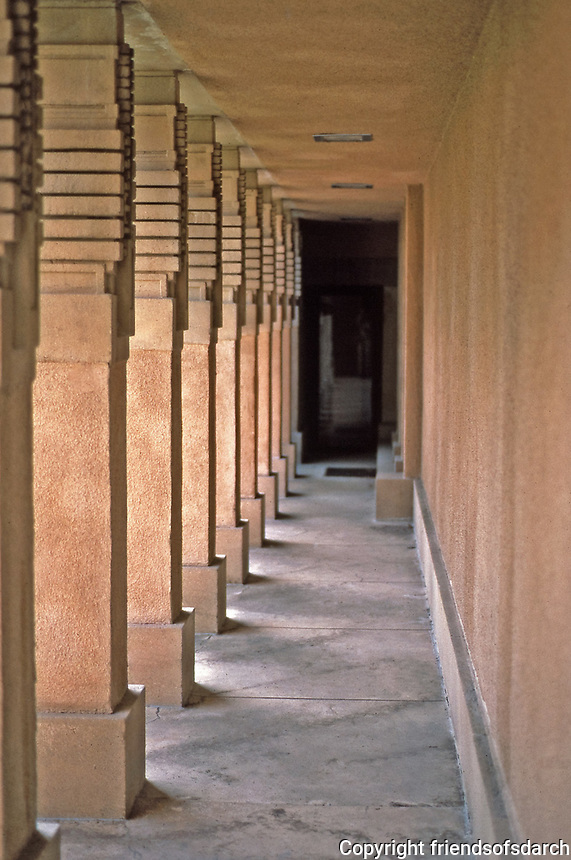 """Frank Lloyd Wright:  Aline Barnsdall """"Hollyhock House"""", Hollywood, 1917. Concrete masses with concrete colunnades.  Photo  March 1982."""