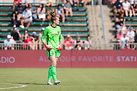 CARY, NC - SEPTEMBER 12: Bella Bixby #31 of the Portland Thorns surveys the field during a game between Portland Thorns FC and North Carolina Courage at Sahlen's Stadium at WakeMed Soccer Park on September 12, 2021 in Cary, North Carolina.
