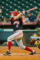 Trey Nielsen #9 of the Utah Utes follows through on his swing against the Baylor Bears at Minute Maid Park on March 5, 2011 in Houston, Texas.  Photo by Brian Westerholt / Four Seam Images