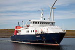 Orkney Islands Ferry entering the Isle of Sanday, Scotland