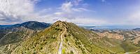 France, Pyrenees Orientales, Cote Vermeille, Port Vendres, landscape with the Tour Madeloc (aerial view) // France, Pyrénées Orientales (66), Côte Vermeille, Port-Vendres, paysage avec la tour Madeloc (vue aérienne)