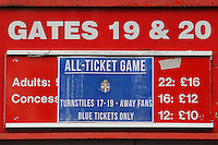 A sign shows that the fixture is an all-ticket game during Stevenage vs Luton Town, Sky Bet League 2 Football at the Lamex Stadium, Stevenage, England on 21/11/2015