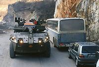 - Centauro armored car of the Italian army on the road from Mostar to Sarajevo during NATO intervention in Bosnia of January 1996<br /> <br /> - autoblindo Centauro dell'esercito italiano sulla strada da Mostar a Sarajevo durante l'intervento NATO in Bosnia del gennaio 1996