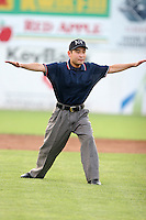 Umpire Masake Nonaka during a NY-Penn League game at Russell Diethrick Park on July 31, 2006 in Jamestown, New York.  (Mike Janes/Four Seam Images)