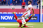 Mousa Mohammad Suleiman of Jordan (front) fights for the ball with  Bui Tien Dung of Vietnam (bottom) during the AFC Asian Cup UAE 2019 Round of 16 match between Jordan (JOR) and Vietnam (VIE) at Al Maktoum Stadium on 20 January 2019 in Dubai, United Arab Emirates. Photo by Marcio Rodrigo Machado / Power Sport Images