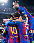 Luis Suarez of FC Barcelona celebrates with Jordi Alba Ramos (top) and fellow teammates during their Copa del Rey 2016-17 Semi-final match between FC Barcelona and Atletico de Madrid at the Camp Nou on 07 February 2017 in Barcelona, Spain. Photo by Diego Gonzalez Souto / Power Sport Images