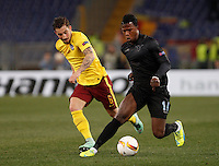 Calcio, Europa League: Lazio vs Sparta Praga. Roma, stadio Olimpico, 17 marzo 2016.<br /> Lazio's Keita Balde Diao, left, is challenged by Sparta Praha's Lukas Vacha during the round of 16 second leg soccer match between Lazio and Sparta Praha, at Rome's Olympic Stadium, 17 March 2016. Sparta Praha won 3-0 to join the quarter finals.<br /> UPDATE IMAGES PRESS/Isabella Bonotto