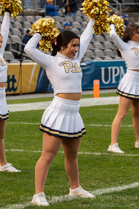 A member of the Pitt dance team performs before the game. The Pitt Panthers football team defeated the Duke Blue Devils 54-45 on November 10, 2018 at Heinz Field, Pittsburgh, Pennsylvania.