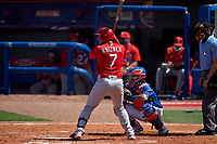 St. Louis Cardinals Andrew Knizner (7) bats during a Major League Spring Training game against the New York Mets on March 19, 2021 at Clover Park in St. Lucie, Florida.  (Mike Janes/Four Seam Images)