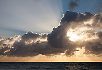 Cloud Sunrise over Atlantic Ocean with Light Rays, Background Image, Fort Lauderdale Beach, Florida FL, America, USA.