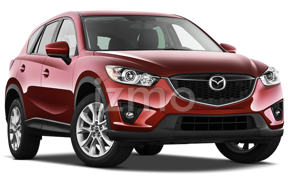 Low aggressive passenger side front three quarter view of a 2013 Mazda CX-5 GT.