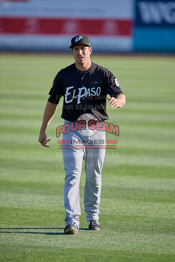 Seth Mejias-Brean (17) of the El Paso Chihuahuas before the game against the Salt Lake Bees at Smith's Ballpark on August 17, 2019 in Salt Lake City, Utah. The Bees defeated the Chihuahuas 5-4. (Stephen Smith/Four Seam Images)