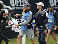 14th July 2021; The Royal St. George's Golf Club, Sandwich, Kent, England; The 149th Open Golf Championship, practice day; Min Woo Lee (AUS) walks from the tee at the 1st hole