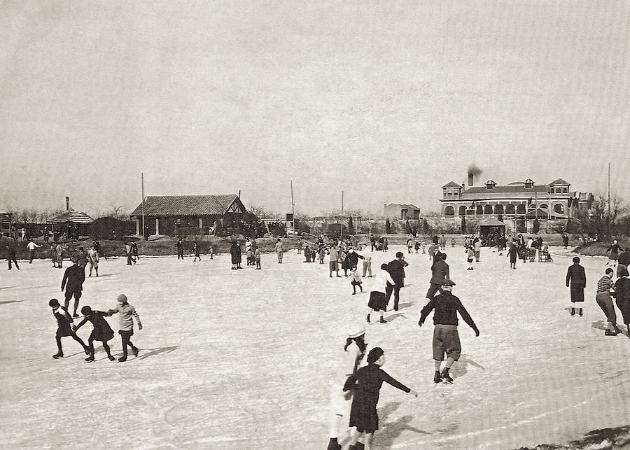 1931: Skating On The Club's Garden Lake.  Somewhere In Amongst The Happy Skaters Is The Photographer's Father, Aged 5.<br /> <br /> Note That One Of The Small Turrets On The Club Building Was Damaged During The Tangshan Earthquake Of 1976 And So Both Were Removed.