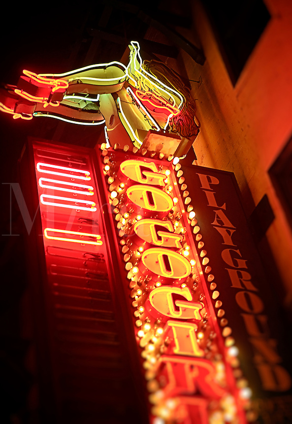 Neon sign for a strip club, Atlantic City, New Jersey