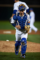 Rancho Cucamonga Quakes catcher Connor Wong (33) during a California League game against the Lake Elsinore Storm at LoanMart Field on May 19, 2018 in Rancho Cucamonga, California. Lake Elsinore defeated Rancho Cucamonga 10-7. (Zachary Lucy/Four Seam Images)
